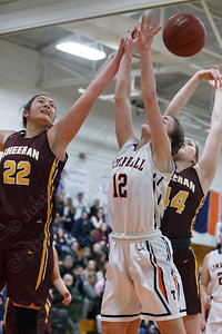 Sheehan's Olivia Robles block Lyman Hall's Elise Hastings Monday at Lyman Hall High School in Wallingford February 12, 2018 | Justin Weekes / Special to the Record-Journal