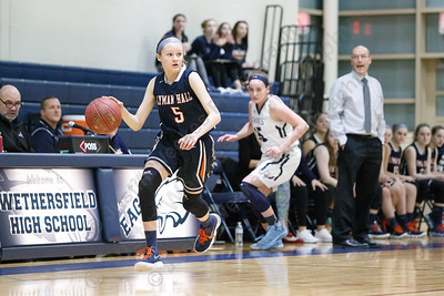 Lyman Hall's Hailey Bruneau pushes up court Tuesday during the CIAC Class L first round at Wethersfield High School in Wethersfield February 27, 2018 | Justin Weekes / Special to the Record-Journal