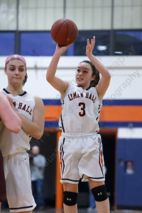 Lyman Hall's Kailey Lipka hits a three point shot Monday at Lyman Hall High School in Wallingford February 12, 2018 | Justin Weekes / Special to the Record-Journal