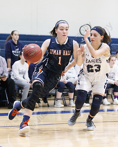 Lyman Hall's Julia Capello drives baseline on Wethersfield's Juliana Mandile Tuesday during the CIAC Class L first round at Wethersfield High School in Wethersfield February 27, 2018 | Justin Weekes / Special to the Record-Journal