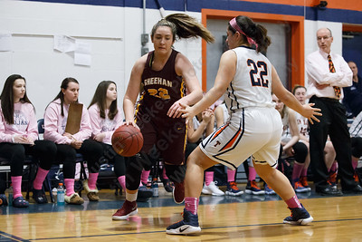 Sheehan's Olivia Robles  tries to get past Lyman Hall's Kelly Fernandez Monday at Lyman Hall High School in Wallingford February 12, 2018 | Justin Weekes / Special to the Record-Journal