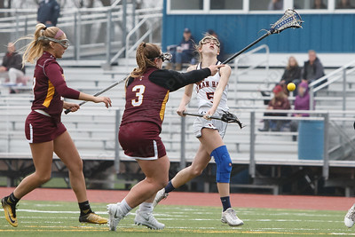 Lyman Hall's Rachel Ruggiero gets a shot on goal Friday at Lyman Hall High School in Wallingford April 27, 2018 | Justin Weekes / Special to the Record-Journal