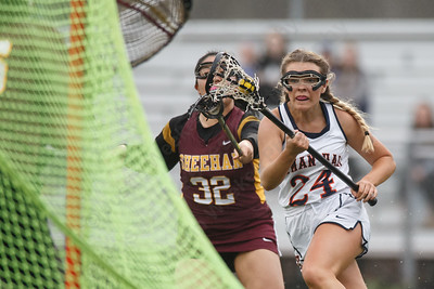 Lyman Hall's Bridget Reddington makes a move to the goal Friday at Lyman Hall High School in Wallingford April 27, 2018 | Justin Weekes / Special to the Record-Journal