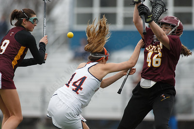 Sheehan's Kaitlin Mills stops a shot Friday at Lyman Hall High School in Wallingford April 27, 2018 | Justin Weekes / Special to the Record-Journal