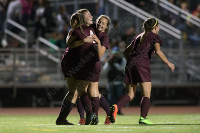 Sheehan celebrates after Olivia Dubuc's goal Tuesday at Lyman Hall High School in Wallingford October 3, 2017 | Justin Weekes / For the Record-Journal