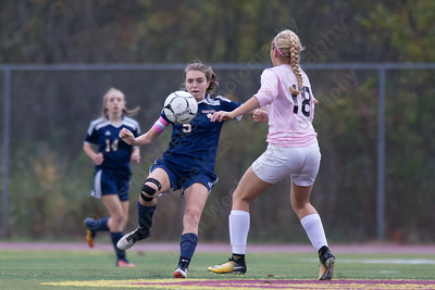 Lyman Hall's Katelyn Smith settles a pass Wednesday at Riccitelli Field in Wallingford October 25, 2017 | Justin Weekes / For the Record-Journal