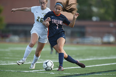 Lyman Hall's Chelsea Giannini works past a East Haven defender Thursday at Fitzgerald Field on the campus of Lyman Hall in Wallingford September 20, 2018 | Justin Weekes / Special to the Record-Journal