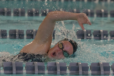 Lyman Hall's Faith Gambardella swims the 200 freestyle Tuesday at Sheehan High School Pool in Wallingford October 17, 2017 | Justin Weekes / For the Record-Journal