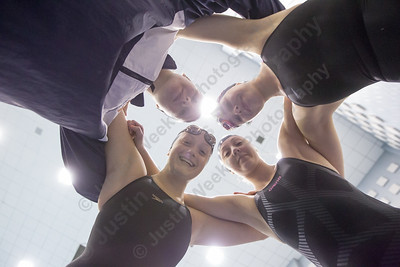 Lyman Hall's Sarah Beverage, Nicole Cislo, Kristie Driscoll and Faith Gambardella get ready for the 200 medley relay Wednesday during the SCC swimming finals at the Hutchinson Natatorium on the campus of Southern Connecticut State University in New Haven November 1, 2017 | Justin Weekes / For the Record-Journal