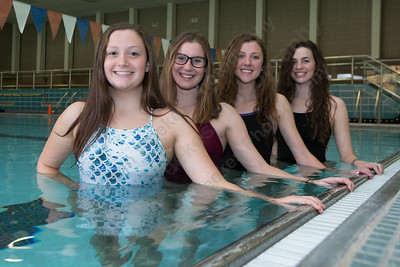 Lyman Hall's Faith Gambardella left Nicole Cislo, Sarah Beverage and Katie Driscoll Thursday at Sheehan High School Pool in Wallingford November 16, 2017 | Justin Weekes / For the Record-Journal
