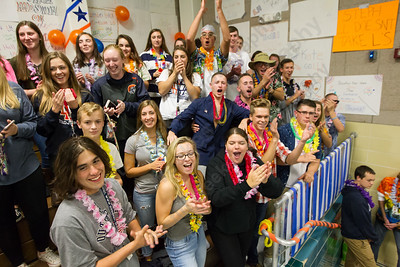 Lyman Hall's Wob Mob fan section cheers Tuesday at Sheehan High School Pool in Wallingford October 17, 2017 | Justin Weekes / For the Record-Journal