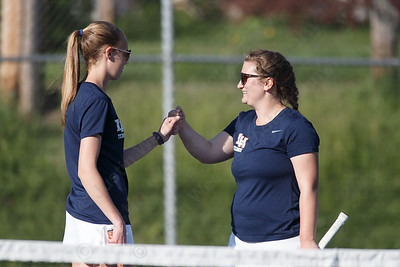 Lyman Hall's Jillian Barron left and Robyn Honyotski Tuesday at Doolittle Park in Wallingford May 8, 2018 | Justin Weekes / Special to the Record-Journal