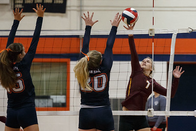 Sheehan's Macey Sundwall plays a touch over blockers Tuesday at Lyman Hall High School in Wallingford September 11, 2018   Justin Weekes / Special to the Record-Journal