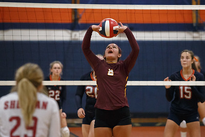 Sheehan's Callie Sarracini sets Tuesday at Lyman Hall High School in Wallingford September 11, 2018   Justin Weekes / Special to the Record-Journal