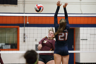 Sheehan's Caitlyn Hunt spikes for a kill Tuesday at Lyman Hall High School in Wallingford September 11, 2018 | Justin Weekes / Special to the Record-Journal