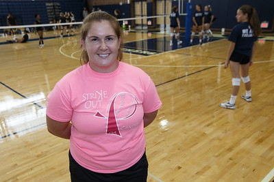 Lyman Hall's new head coach girls volleyball Marion Kish Thursday during a scrimmage at Platt High School in Meriden August 30, 2018 | Justin Weekes / Special to the Record-Journal