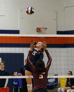Lyman Hall's Hailey Bruneau lines up a spike for a kill Tuesday at Lyman Hall High School in Wallingford September 11, 2018   Justin Weekes / Special to the Record-Journal