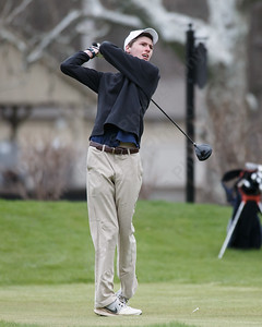 Lyman Hall's Brian Seledyn on the first tee box Monday at The Farms Country Club in Wallingford April 30, 2018 | Justin Weekes / Special to the Record-Journal