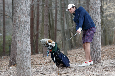 Lyman Hall's Pat Doherty plays out of some trouble Monday at The Farms Country Club in Wallingford April 30, 2018 | Justin Weekes / Special to the Record-Journal