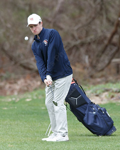 Lyman Hall's Austyn Heidgerd chips on the the first green Monday at The Farms Country Club in Wallingford April 30, 2018 | Justin Weekes / Special to the Record-Journal