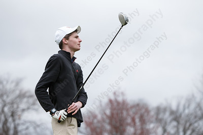 Lyman Hall's Brian Seledyn watches his drive from the second tee box Monday at The Farms Country Club in Wallingford April 30, 2018 | Justin Weekes / Special to the Record-Journal