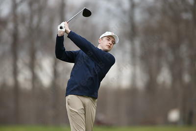 Lyman Hall's Owen Twohill tees off on the second hole Monday at The Farms Country Club in Wallingford April 30, 2018 | Justin Weekes / Special to the Record-Journal