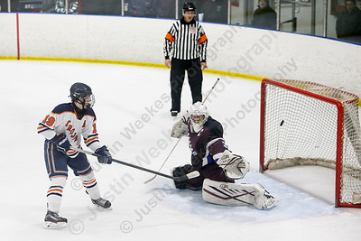 Lyman Hall HK Coginchaug's Kyle Roberts Wednesday during the SCC semifinals at Milford Ice Pavilion in Milford February 28, 2018 | Justin Weekes / Special to the Record-Journal