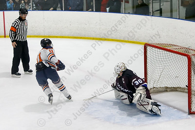 Lyman Hall HK Coginchaug's Matt Pettit Wednesday during the SCC semifinals at Milford Ice Pavilion in Milford February 28, 2018 | Justin Weekes / Special to the Record-Journal