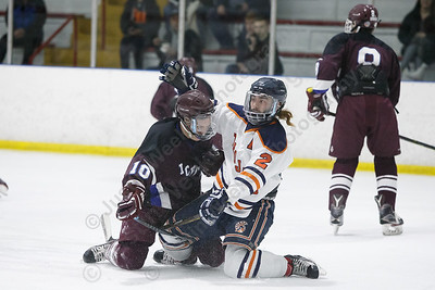 Lyman Hall HK Coginchaug's Josh Matinez comes together with BBD's Colin MacNevin Wednesday during the SCC semifinals at Milford Ice Pavilion in Milford February 28, 2018 | Justin Weekes / Special to the Record-Journal