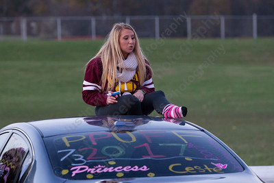 Sheehan's Angela Cefarelli waits for friends Tuesday during the Lyman Hall and Sheehan Powder Puff Motorcade in Wallingford November 21, 2017 | Justin Weekes / For the Record-Journal
