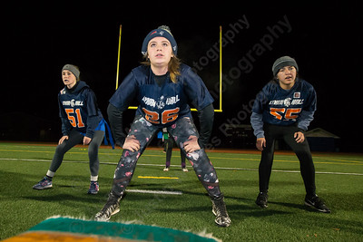 Lyman Hall's Avery LaChance lines up for the defense Sunday during powder puff practice at Fitzgerald Field on the campus of Lyman Hall High School in Wallingford November 12, 2017 | Justin Weekes / For the Record-Journal