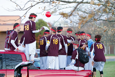 Sheehan's cheerleaders get ready to start the motorcade Tuesday during the Lyman Hall and Sheehan Powder Puff Motorcade in Wallingford November 21, 2017 | Justin Weekes / For the Record-Journal