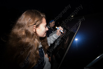 Lyman Hall's Sarah Altschuler decorates her car Tuesday during the Lyman Hall and Sheehan Powder Puff Motorcade in Wallingford November 21, 2017 | Justin Weekes / For the Record-Journal