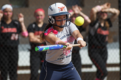 Lyman Hall's Morgan Shura (3) gets on board with a bunt Monday at Cheshire High School in Cheshire  May. 11, 2015 | Justin Weekes / For the Record-Journal