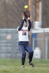Lyman Hall's Deanna Rackie (16) tracks down a fly ball from Sheehan's Becca Souza (13) Monday at Lyman Hall High School in Wallingford  Apr. 27, 2015 | Justin Weekes / For the Record-Journal