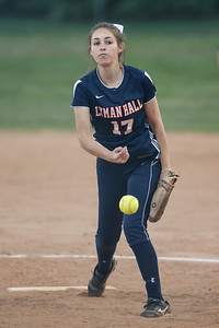 Lyman Hall's Hannah DelCervo (17) delivers a pitch Wednesday at Pragemann Park in Wallingford  May. 13, 2015 | Justin Weekes / For the Record-Journal