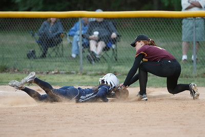 Lyman Hall's Sami Forster (2) gets picked off at first by Sheehan's Kristina Church (10) Wednesday at Pragemann Park in Wallingford  May. 13, 2015 | Justin Weekes / For the Record-Journal