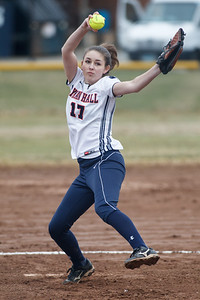 Lyman Hall's Hannah DelCervo (17) delivers a pitch during a game with Hillhouse Thursday at Lyman Hall High School in Wallingford Apr. 9, 2015 | Justin Weekes / For the Record-Journal