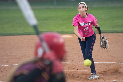 Lyman Hall's Hannah DelCervo delivers a pitch to Sheehan's Hunter Selvaggi  Monday at Pragemann Park in Wallingford May. 9, 2016 | Justin Weekes / For the Record-Journal