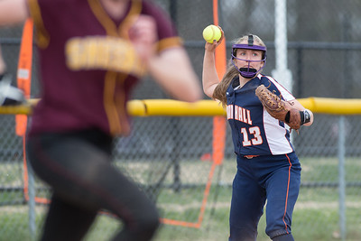 Lyman Hall's Katelyn Miller throws out Sheehan's Erin Dighello  Friday at Lyman Hall High School in Wallingford Apr. 22, 2016 | Justin Weekes / For the Record-Journal