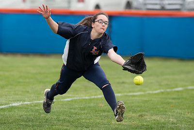 Lyman Hall's Faith Barbieri just misses a catch in foul territory Wednesday at Lyman Hall High School in Wallingford Apr. 19, 2017 | Justin Weekes / For the Record-Journal