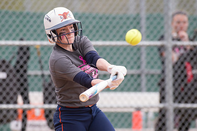 Lyman Hall's Michaela Keating gets on board with a single Wednesday at Pragemann Park in Wallingford May. 10, 2017 | Justin Weekes / For the Record-Journal