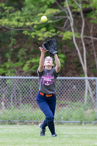 Lyman Hall's Faith Barbieri catches a fly ball Wednesday at Pragemann Park in Wallingford May. 10, 2017 | Justin Weekes / For the Record-Journal