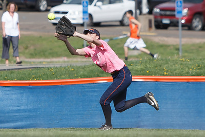 Lyman Hall's Elise Hastings catches a fly ball Wednesday at Lyman Hall High School in Wallingford May 9, 2018 | Justin Weekes / Special to the Record-Journal