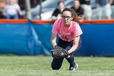 Lyman Hall's Faith Barbieri dives for a fly ball Wednesday at Lyman Hall High School in Wallingford May 9, 2018 | Justin Weekes / Special to the Record-Journal