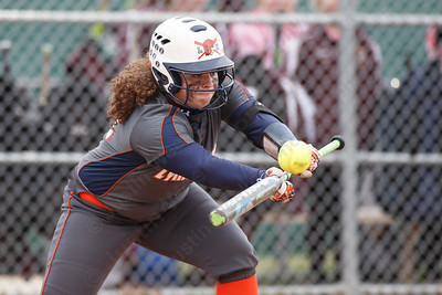 Lyman Hall's Morgan Tuscano bunts to advance the runner Wednesday at Pragemann Park in Wallingford April 18, 2018 | Justin Weekes / Special to the Record-Journal