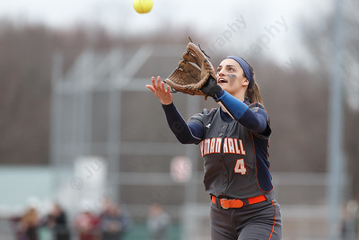 Lyman Hall's Sam Carbone catches an in field fly from Sheehan's Meghan Murphy Wednesday at Pragemann Park in Wallingford April 18, 2018 | Justin Weekes / Special to the Record-Journal