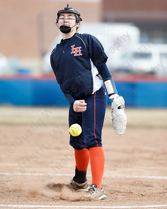 Lyman Hall's Maddie Shura delivers a pitch Wednesday during a pre-season scrimmage with Choate Rosemary Hall at Lyman Hall High School in Wallingford March 28, 2018 | Justin Weekes / Special to the Record-Journal