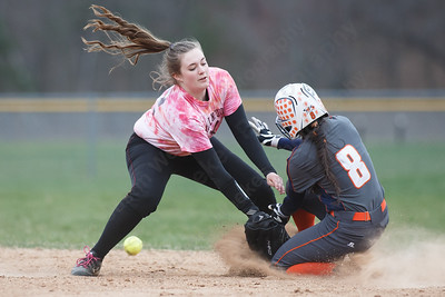 Lyman Hall's Sidney Nilsen beats the throw into second Wednesday at Pragemann Park in Wallingford April 18, 2018 | Justin Weekes / Special to the Record-Journal