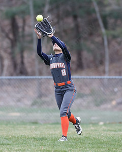 Lyman Hall's Sidney Nilsen catches a fly ball from Sheehan's Erin Dighello  Wednesday at Pragemann Park in Wallingford April 18, 2018 | Justin Weekes / Special to the Record-Journal